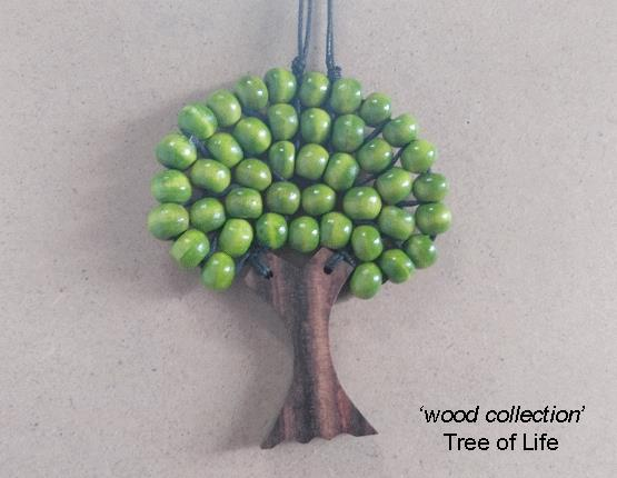 Tree of Life Necklace, Natural Wood, Green Wooden Beads
